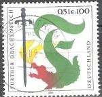 Sellos del Mundo : Europa : Alemania : Grabado de dragón adicional en Furth en el Bosque de Baviera.