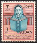 Stamps Sudan -  50  AÑOS  DE  LA  EDUCACION  EN  SUDAN.  MUCHACHA  LEYENDO.
