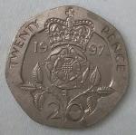 monedas de Europa - Reino Unido -  1987 twenty pence