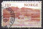 Stamps : Europe : Norway :  NORUEGA 1981 Scott 0788 Sello Paisaje Barco Faemund II de 1905 en lago Fermund usado Norway Norvège