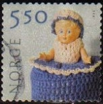 Stamps : Europe : Norway :  NORUEGA 2001 Scott 1305 Sello Serie Artesania Manual Textil Michel 1388 usado Norway Norvège Norge