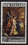 Stamps Oceania - New Zealand -  Nueva Zelanda 1969 Scott 429 Sello º Navidad Christmas Natividad de Federico Fiori Nouvelle Zelande