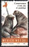 Stamps : America : Mexico :  CONSERVEMOS  EL  LOBO  FINO  DE  GUADALUPE