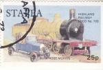 Stamps United Kingdom -  COCHE Y LOCOMOTORA DE EPOCA-