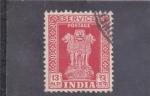 Sellos de Asia - India -  columna de Asoka- service-