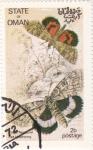 Stamps Oman -  mariposas