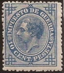 Stamps Spain -  Alfonso XII. Impuesto de Guerra  1877  10 cénts