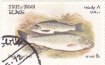 Stamps : Europe : Oman :  PECES- trucha