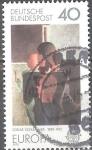 "Stamps : Europe : Germany :  EUROPA, CEPT.Pintura ""Concentric Group"" de Oskar Schlemmer (1888-1943), pintor."