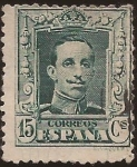 Stamps : Europe : Spain :  Alfonso XIII. Tipo Vaquer  1922 15 cents TipoB