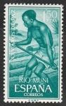 Sellos del Mundo : Africa : Guinea_Ecuatorial : rio muni - 62 - Transporte fluvial de madera
