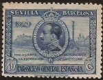 Sellos de Europa - España -  Alfonso XIII y Barcelona  1929  40 cents