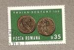 Sellos de Europa - Rumania -  Moneda sextercios Trajano