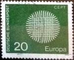 Sellos de Europa - Alemania -  Scott#1018 ma3s intercambio, 0,20 usd, 20 cent. 1970