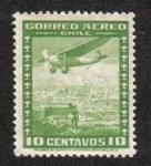 Stamps Chile -  Avión sobre la ciudad