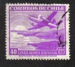 Sellos de America - Chile -  Avión sobre la costa y la salida del sol