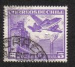 Sellos de America - Chile -  Fábrica y avión