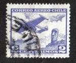 Stamps Chile -  Avión y Moai en la Isla de Pascua