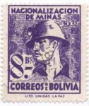 Stamps of the world : Bolivia :  Conmemoracion de la Nacionalizacion de las Minas