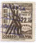Stamps of the world : Bolivia :  Aniversario de la revolucion del 9 de abril de 1952