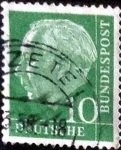 Stamps Germany -  Scott#708 intercambio, 0,20 usd, 10 cents. 1954