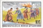 Sellos de Asia - Mongolia -  SOFOCANDO UN INCENDIO