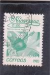 Stamps Nicaragua -  FLORES- MALVAVISCUS ARBOREUS