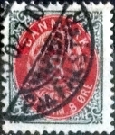 Stamps of the world : Denmark :  Scott#28 intercambio, 0,50 usd, 8 cents. 1875