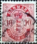 Sellos del Mundo : Europa : Dinamarca : Scott#10 intercambio, 2,00 usd, 10 cents. 1885