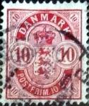 Stamps Europe - Denmark -  Scott#10 intercambio, 2,00 usd, 10 cents. 1885