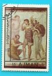 Stamps Asia - United Arab Emirates -  AJMAN -  Eneas herido - Arte Romano - Pompeya