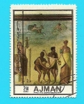 Stamps Asia - United Arab Emirates -  AJMAN - el sacrificio de Ifigenia - Arte Romano - Pompeya