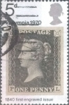 Sellos de Europa - Reino Unido -  Scott#642 intercambio, 0,20 usd, 5 p. 1970