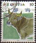 Sellos de Europa - Suiza -  Suiza 1992 Scott 870 Sello Fauna Animales Vaca Michel1461 usado Switzerland Suisse