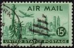 Stamps United States -  INT-AVIÓN DESPEGANDO DE NUEVA YORK Y ESTATUA DE LA LIBERTAD