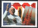 Stamps : Europe : Vatican_City :  VIAJE  DE  S.S.  JUAN  PABLO  II.  DANDO  SALUDO  EN  CROACIA, ESTATUA  DE  LA  DAMA  BENDITA  Y  CA