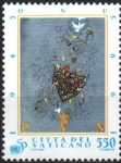 Stamps : Europe : Vatican_City :  PEQUEÑOS  CORAZONES  VOLANDO  DESDE  UN  CORAZÓN  GRANDE,  PINTURA  DE  PAOLO  GUIOTTO.