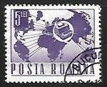 Stamps Romania -  Mapa del mundo con telex