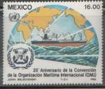 Sellos de America - México -  25 aniversario de la convención de la organización marítima internacional