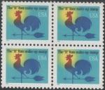 Stamps : America : United_States :  Gallo veleta Tasa H. Block de 4 sellos.