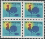 Sellos del Mundo : America : Estados_Unidos : Gallo veleta Tasa H. Block de 4 sellos.
