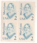 Sellos del Mundo : America : Estados_Unidos : Grandes americanos Mary Lyon block de 4