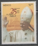 Sellos del Mundo : America : México : 25 aniversario primera visita del papa Juan Pablo segundo