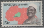 Sellos del Mundo : Africa : Níger : MAPA DE NIGER EN ÁFRICA Y PRESIDENTE DIORI HAMANI