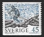 Sellos del Mundo : Europa : Suecia : Troncos flotantes