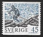 Sellos de Europa - Suecia -  Troncos flotantes