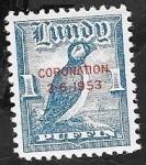 Sellos de Europa - Reino Unido -   Lundy - Coronación 2-6-1953, - frailecillo