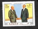 sellos de Asia - Emiratos Árabes Unidos -  Ajman - Eisenhower y Adenauer