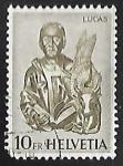 Stamps Switzerland -  Saint Luke with the bull