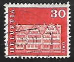 Stamps Switzerland -  Village square houses